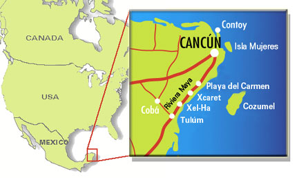Cancún map | Cozumel map | Riviera Maya map | Isla Mujeres map